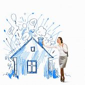 Image of businesswoman leaning on illustration. Construction concept poster