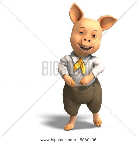 cute Cartoon Schwein mit Kleidung