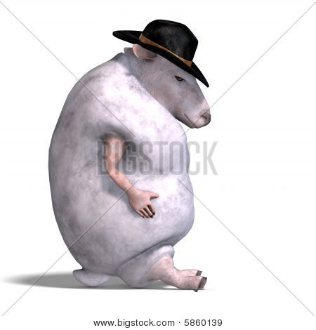 3D rendering of a sheep of the wild west with clipping path and shadow over white poster