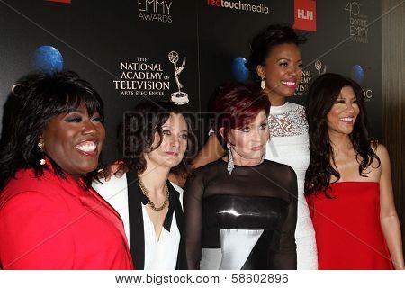 Sheryl Underwood, Sara Gilbert, Sharon Osbourne, Aisha Tyler and Julie Chen at the 40th Annual Daytime Emmy Awards, Beverly Hilton Hotel, Beverly Hills, CA 06-16-13