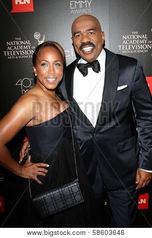 Steve Harvey and Marjorie Bridges-Woods at the 40th Annual Daytime Emmy Awards, Beverly Hilton Hotel, Beverly Hills, CA 06-16-13