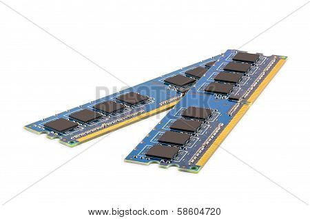 Pair of computer DDR memory modules isolated on white background with clipping path poster