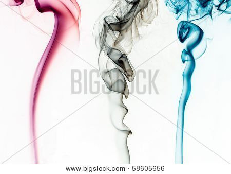 Coloured smoke on white background