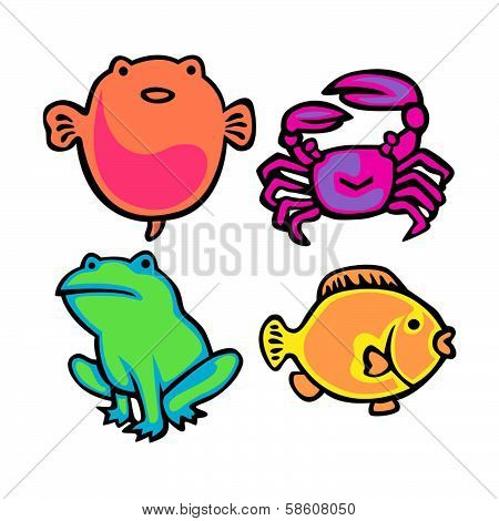 Cute Water Animals Vector Pac...
