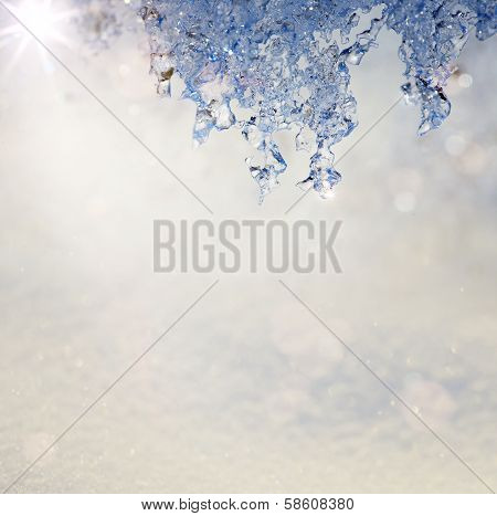Art Spring Texture Background In The Form Of Melting Snow With A Blue Tinted