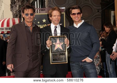 Johnny Depp, Jerry Bruckheimer and Tom Cruise at the Jerry Bruckheimer Star on the Hollywood Walk of Fame ceremony, Hollywood, CA 06-24-13