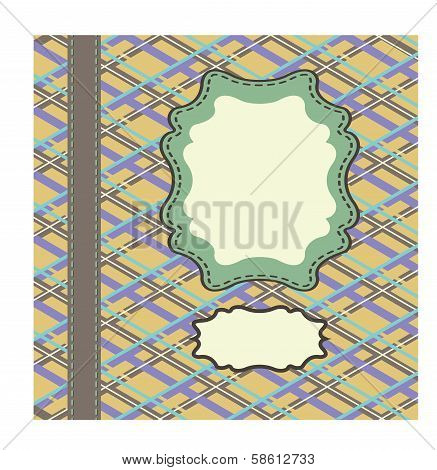 Vintage Template,artwork With Tartan And Arabesque