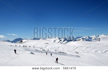 Skiers On Mountainside
