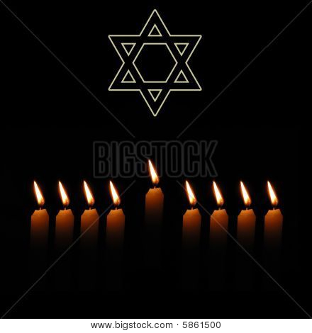 Jewish Holiday Background With David Star And Nine Candles