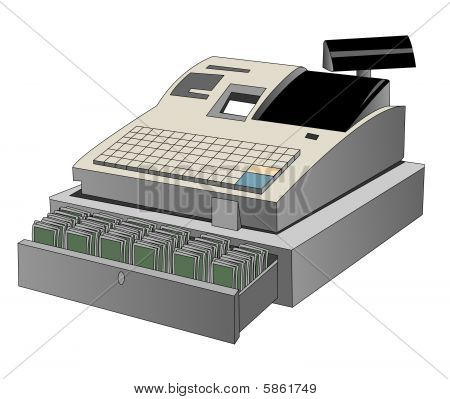 Open Cash Register On A White Background