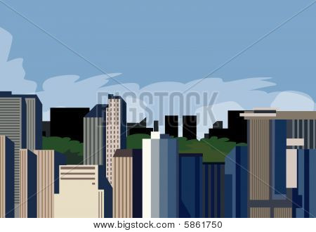 Panorama Of A City Against The Sky