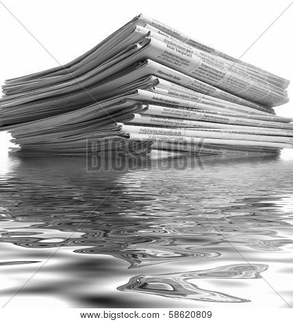 Sinking Stack Of Newspapers