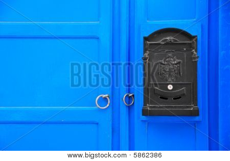 Cycladic Blue Door With Postbox