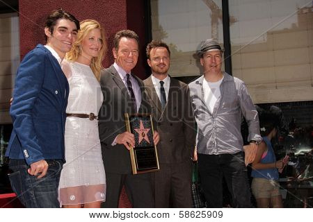 RJ Mitte, Anna Gunn, Bryan Cranston, Aaron Paul and Bob Odenkirk at the Bryan Cranston Star on the Hollywood Walk of Fame Ceremony, Hollywood, CA 07-16-13