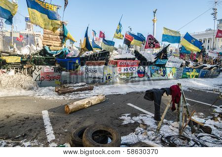 Maidan protests on 31 January 2014 in Kiev, Ukraine