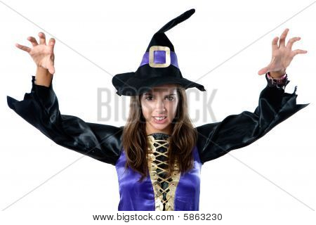 Beautiful Girl Dressed In Evil Witch