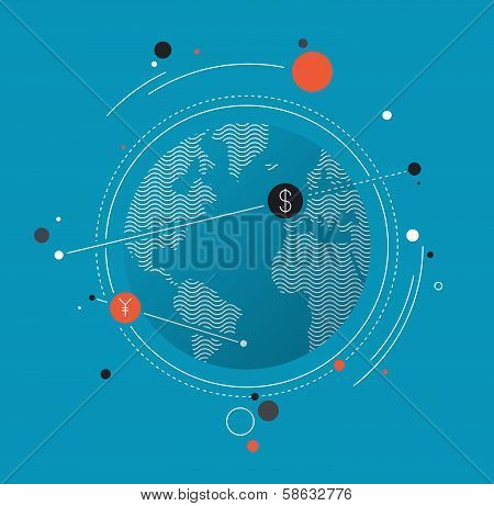 Global Money Exchange Flat Illustration Concept