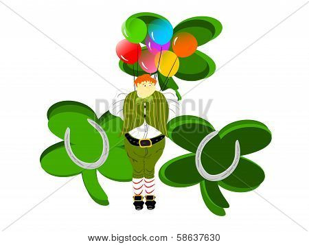 leprechaun large balloons clovers