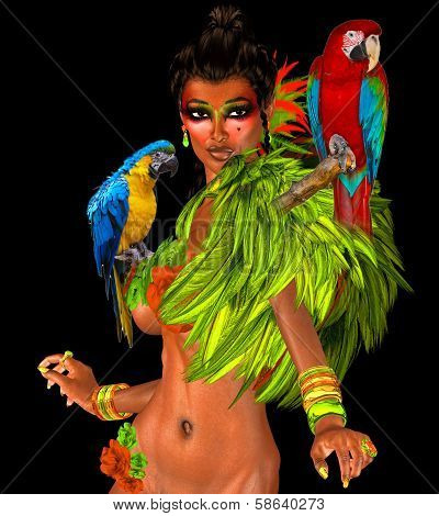 Parrots on sexy womans shoulders with feathers.