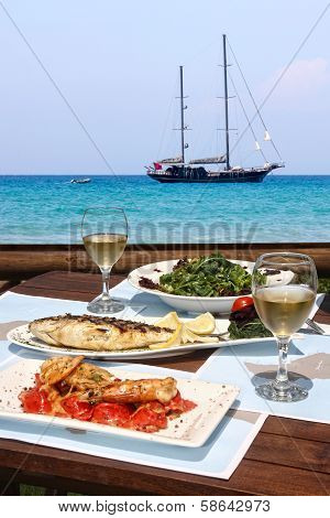 Lunch For Two By The Sea