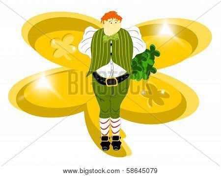 leprechaun large gold clover