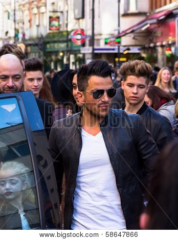 Peter Andre arriving in Leicester Square
