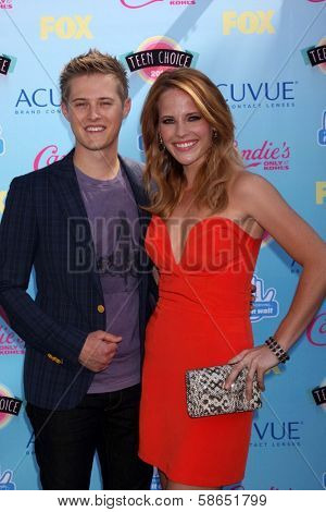 Lucas Grabeel, Katie Leclerc at the 2013 Teen Choice Awards Arrivals, Gibson Amphitheatre, Universal City, CA 08-11-13