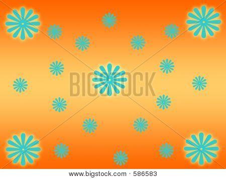 Orange Patter With Flowers