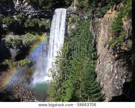 Rainbow and waterfalls in mountains