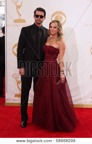 Kaley Cuoco and Ryan Sweeting at the 65th Annual Primetime Emmy Awards Arrivals, Nokia Theater, Los Angeles, CA 09-22-13
