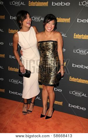 Jessica Szohr and Jenna Ushkowitz at the 2013 Entertainment Weekly Pre-Emmy Party, Fig& Olive, Los Angeles, CA 09-20-13