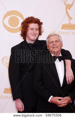 Robert Morse and son Charlie Morse at the 65th Annual Primetime Emmy Awards Arrivals, Nokia Theater, Los Angeles, CA 09-22-13