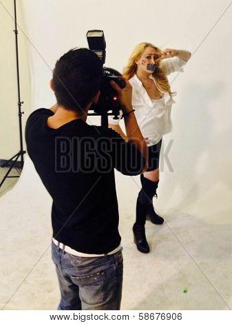 Jennifer Blanc-Biehn behind the scenes of an Adam Bouska NOH8 Photo Shoot, Private Location, Los Angeles, CA 10-01-13