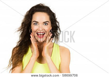 Happy Surprised Beautiful Woman