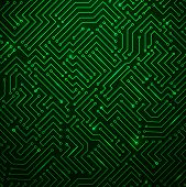 Futuristic Shining Green Technology Background ??? Printed Circuit Board Seamless with Pattern in Swatches poster