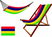 mauritius hammock and deck chair set against white background abstract vector art illustration poster