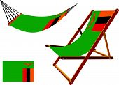zambia hammock and deck chair set against white background abstract vector art illustration poster