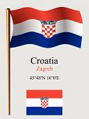 croatia wavy flag and coordinates against gray background vector art illustration image contains transparency poster