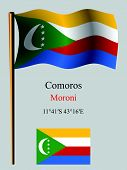 comoros wavy flag and coordinates against gray background vector art illustration image contains transparency poster
