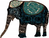big mammal in the traditional Indian designs on a white background poster