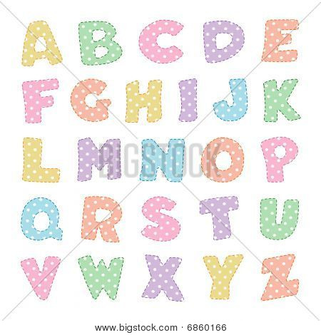 Alphabet in Pastel Polka Dots