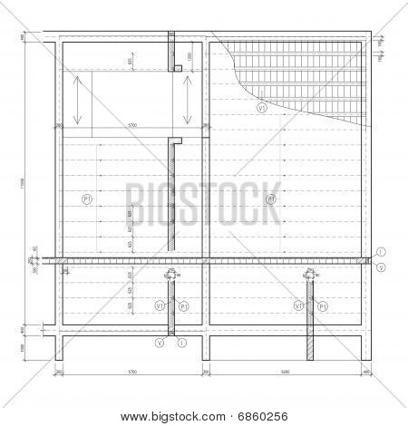 Construction drawing, ceiling structure