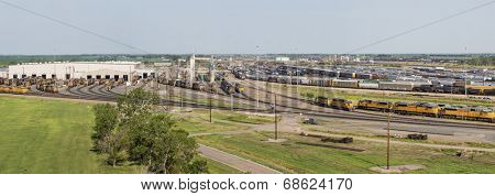 NORTH PLATTE, NEBRASKA, JULY 14, 2014: Panoramic view of Union Pacific's Bailey rail yard from Golden Spike Tower. The world's largest train yard is handling 10,000 cars each day.