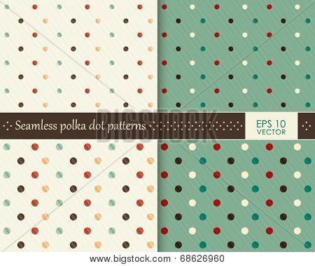 Abstract colorful polka dot repeating pattern on two different background colors that will tile seamlessly. Faint overlying diagonal stripes give it an interesting texture.