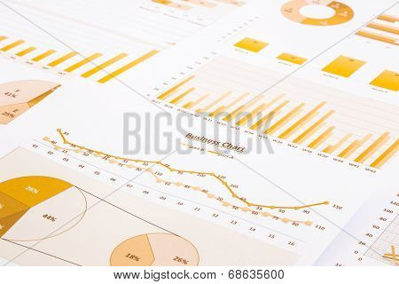 Yellow Business Charts, Graphs, Report And Summarizing Background