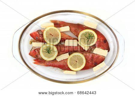 Raw Redfishes With Lemon Isolated