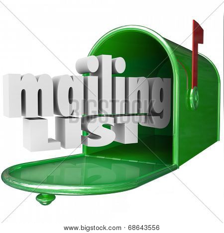 Mailing List words 3d letters mailbox direct marketing advertising your company business