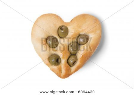 Olive Flat Bread Heart