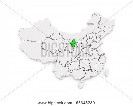 Map of Ningxia Hui Autonomous Region. China. 3d