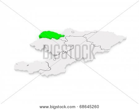 Map of Talas. Kyrgyzstan. 3d